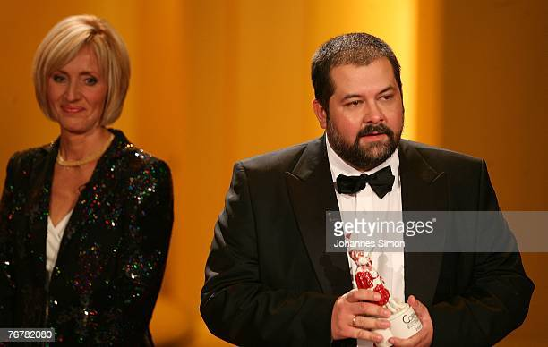 Russian writer Sergej Lukianenko addresses the audience during the annual Corine awards at the Prinzregenten Theatre on September 16, 2007 in Munich,...