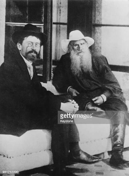 Russian writers Anton Chekhov and Leo Tolstoy in Moscow, Russia, 1904.