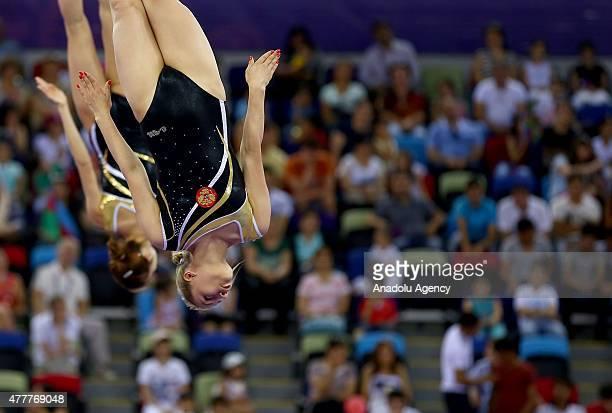 Russian Yana Pavlova and Anna Kornetskaya compete in Women's Synchronised Trampoline during the Baku 2015 European Games at National Gymnastics Arena...