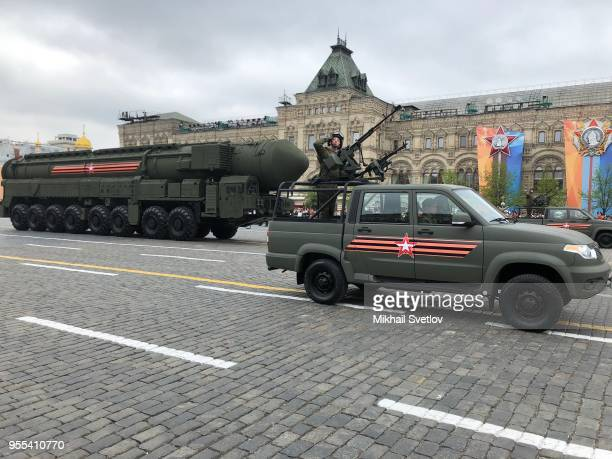 Russian Yars ballistic nuclear missiles on mobile launchers roll through Red Square during the Victory Day military parade rehearsals on May 6 2018...