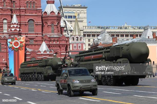 Russian Yars millile on the carrier rolls during the Victory Day Red Square Military Parade in Moscow Russia May2018 Vladimir Putin and Israeli Prime...