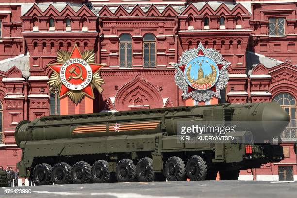 A Russian Yars RS24 intercontinental ballistic missile system drives through Red Square in Moscow on May 7 during a rehearsal for the Victory Day...