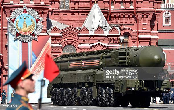 A Russian Yars RS24 intercontinental ballistic missile system rolls at Red Square during the Victory Day military parade in Moscow on May 9 2016...