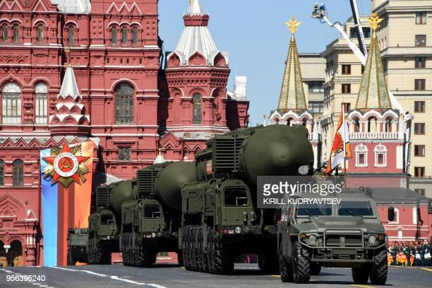 Russian Yars RS24 intercontinental ballistic missile systems parade through Red Square during the Victory Day military parade in Moscow on May 9 2018...