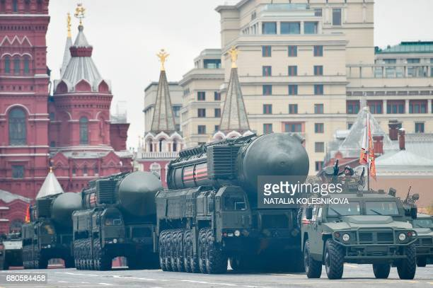 Russian Yars RS24 intercontinental ballistic missile systems ride through Red Square during the Victory Day military parade in Moscow on May 9 2017...