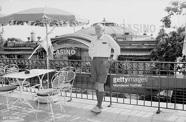RussianAmerican writer Vladimir Nabokov posing leaning on the railing of the terrace of Montreux Palace Hotel where he is staying Montreux 1973