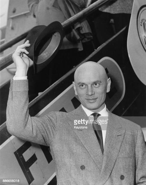 Russianborn actor Yul Brynner arrives at London Airport for the UK premiere of his film 'The Journey' 15th March 1959