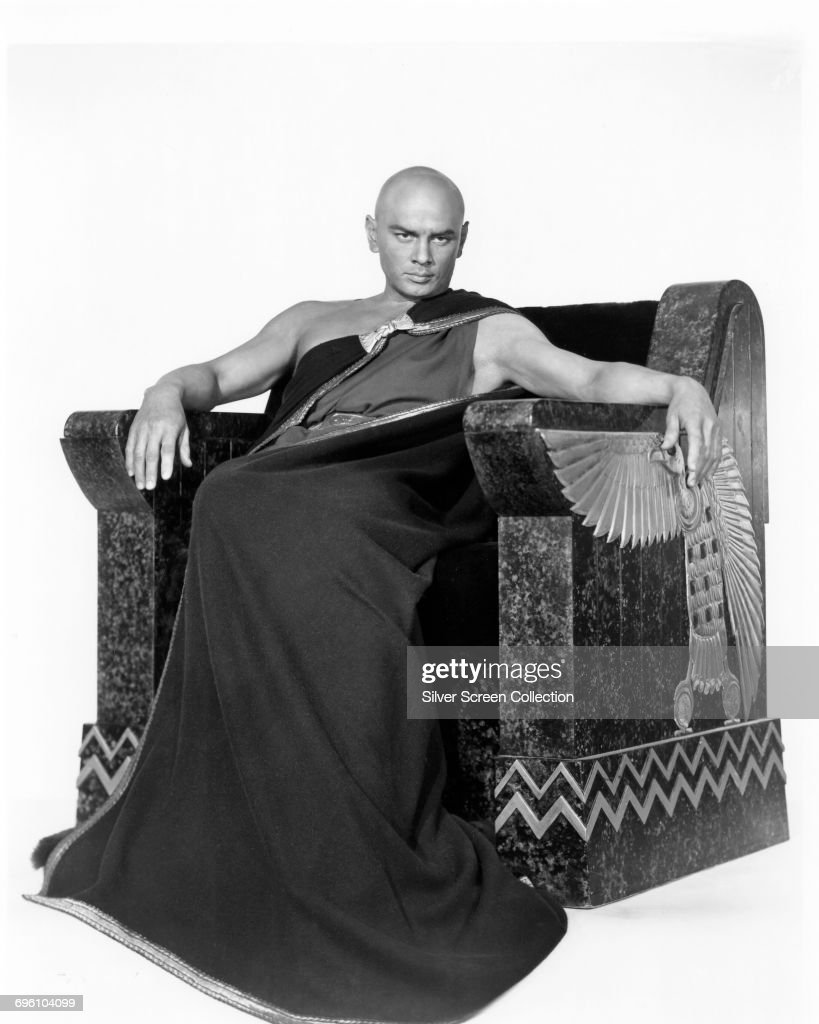 Russian-born actor Yul Brynner (1920 - 1985) as Pharaoh Ramesses II in a publicity still for the biblical epic 'The Ten Commandments', 1956.