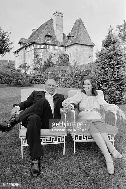 Russian-born American actor, Yul Brynner, and his third wife, Jacqueline de Croisset, at their home in Normandy.