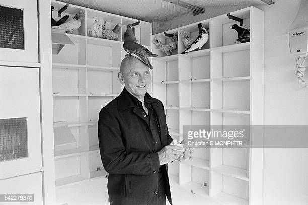 Russian-born American actor, Yul Brynner, at his home in Normandy.