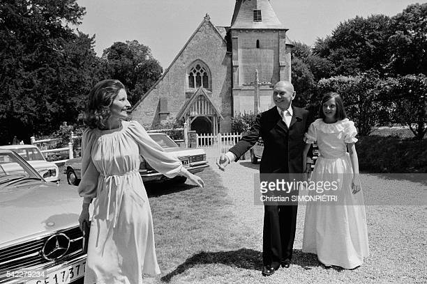 "Russian-born American actor, Yul Brynner, his third wife, Jacqueline de Croisset, and his daughter Victoria at their Normandy home, ""Crique Boeuf""."