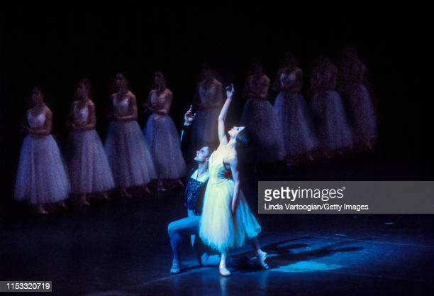 Russian-born American ballet dancer Mikhail Baryshnikov and American ballerina Gelsey Kirkland , with the company, perform in the American Ballet...