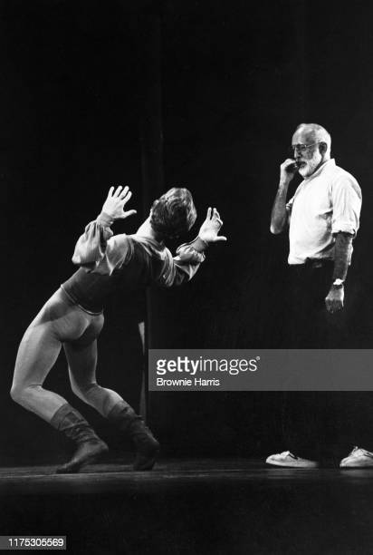 Russian-born American ballet dancer Mikhail Baryshnikov rehearses, with choreographer Jerome Robbins, for the American Ballet Theatre's production of...