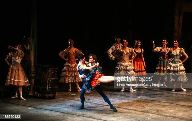 Russianborn American dancer Mikhael Baryshnikov and American ballerina Cynthia Harvey perform during Act II of the American Ballet Theater's...
