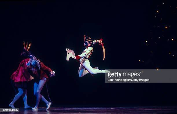 Russian-born American dancer Mikhail Baryshnikov fights the Mouse King during a performance of the American Ballet Theatre's production of...