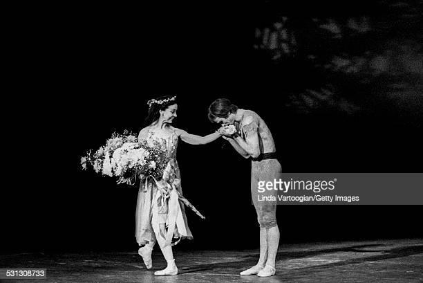 Russianborn ballet dancer Rudolf Nureyev kisses the hand of English prima ballerina assoluta Dame Margot Fonteyn after their performance in 'Floresta...