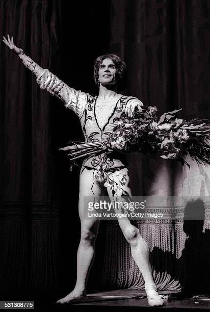 Russianborn ballet dancer Rudolf Nureyev takes a bow after his performance in the Royal Ballet/Sir Kenneth MacMillan's production of 'Romeo and...
