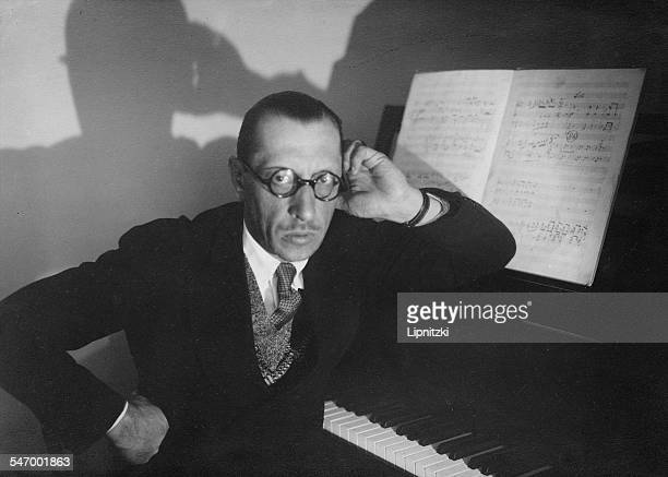 Russianborn composer Igor Stravinsky seated at a piano 1929