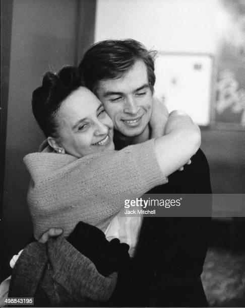 Russianborn French Rudolf Nureyev hugs a staff member at the American Ballet Theatre School New York New York September 1962