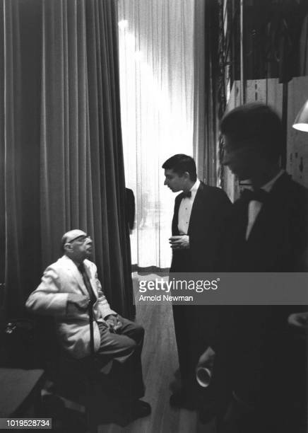 Russian-born French-American composer Igor Stravinsky speaks with sixteen-year-old pianist and future conductor Michael Tilson Thomas , Los Angeles,...