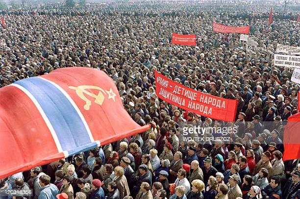 RuSsianborn procommunist Lithuanians crowd in the center of Vilnius waving Soviet flags on March 28 during during proSoviet Union demonstration...