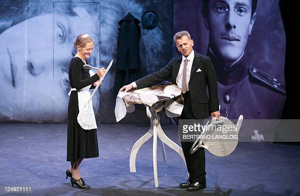 Russianborn US dancer Mikhail Baryshnikov and Anna Sinyakina performs on stage during a rehearsal of In Paris adapted from the short story by Nobel...