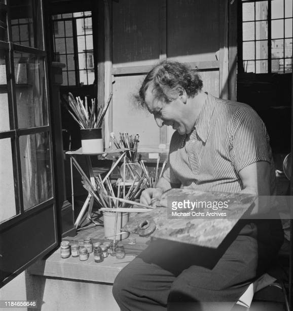 Russian-French artist Marc Chagall in his studio, circa 1942.