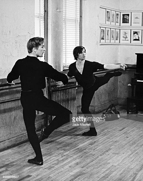 RussianFrench dancer and actor Rudolf Nureyev rehearses with Danish dancer and actor Erik Bruhn 1962