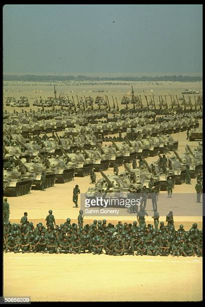 Russianmade tanks and Egyptian army personnel at military parade
