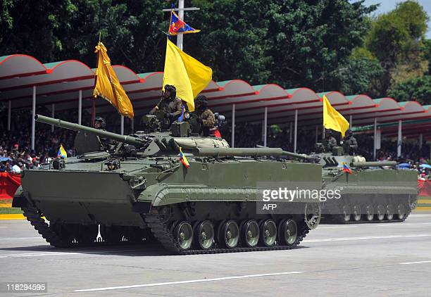 A Russianmade Venezuelan BMP3 infantry fighting vehicle parades during the commemoration of Venezuela's Bicentennial in Caracas on July 5 2011...
