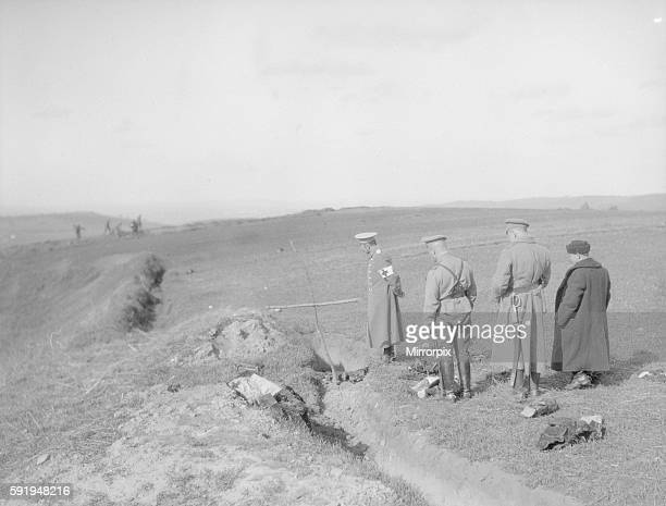 Russians at the graveside of an Austrian officer after the Battle of Lemberg. September 1914