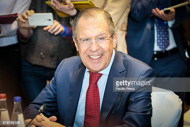 Russian's Foreign Minister Sergei Lavrov looks on during a trilateral meeting with Azerbaijan's Foreign Minister Elmar Mammadyarov and Iran's Foreign...