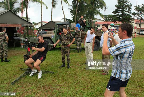 Russians make a visit to the French Army Legion base after working in the new Russian Soyuz launch complex at the Guiana Space Center on May 01 2011...