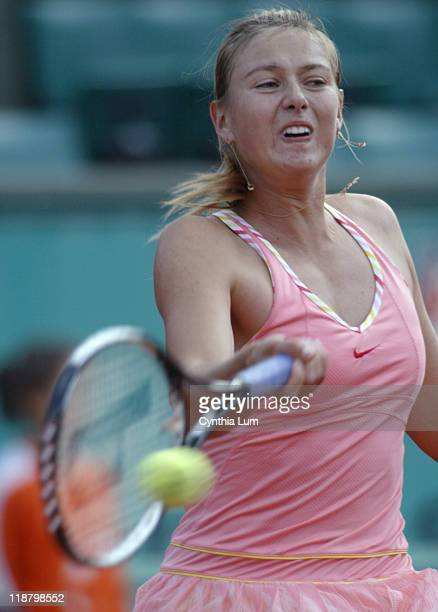 Russian's Maria Sharapova in action during her 60 75 defeat of Alicia Molik of Australia in the third round of the French Open Paris France