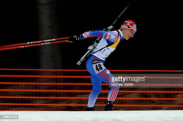 Russian's Natalia Sokolova competes during the 75 km sprint on the second day of Biathlon European championships in Nove Nesto na Morave on February...