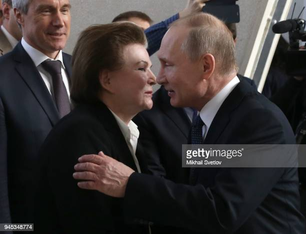 Russians President Vladimir Putin kisses the first female cosmonaut in the World Valentina Tereshkova while visiting the exposition of missiles at...