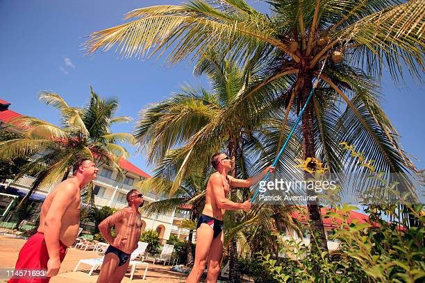 Russians relax in the Hotel du Fleuve after working in the new Russian Soyuz launch complex at the Guiana Space Center on April 30 2011 in Sinnamary...