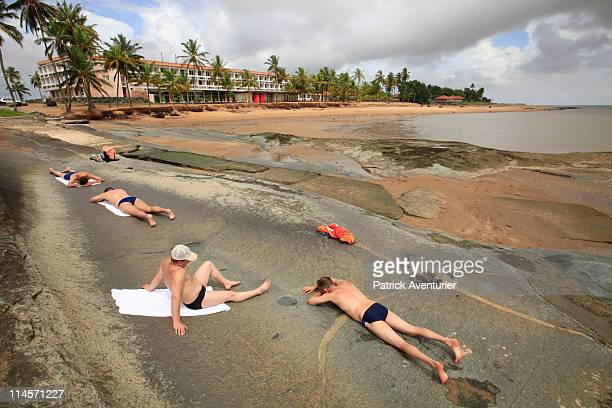 Russians relax in the Kourou beach after working in the new Russian Soyuz launch complex at the Guiana Space Center on May 01 2011 in French Guiana...