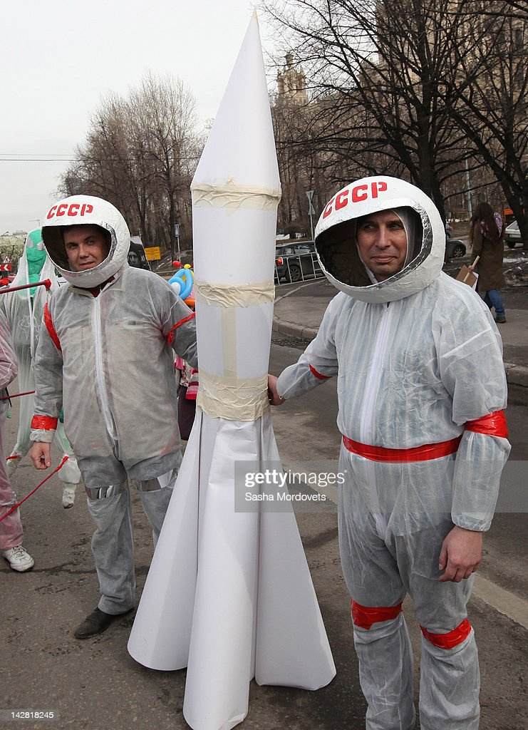Russians take part in a mock celebration for Cosmonaut Day, marking the 51st anniversary of Yuri Gagarin's pioneering fight into space on April 12, 2012 in Moscow, Russia. Gagarin became the first man to journey into space on April 12, 1961 when his Vostok spacecraft orbited the Earth.