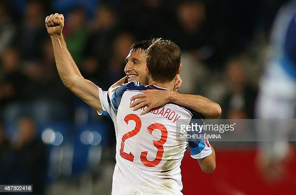 Russia's Alan Dzagoev celebrates after scoring his team sixth's goal during the Euro 2016 qualifying football match between Liechtenstein and Russia...