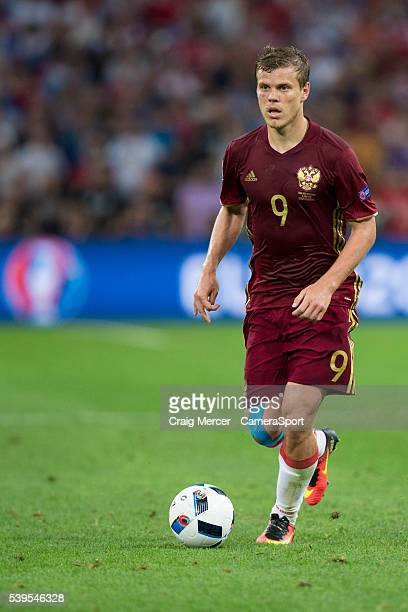Russia's Aleksandr Kokorin in action during the UEFA Euro 2016 Group B match between England and Russia at Stade Velodrome on June 10 2016 in...