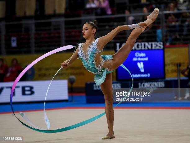 Russia's Aleksandra Soldatova performs during the individual allaround final at the World Rhythmic Gymnastics Championships at Arena Armeec in Sofia...