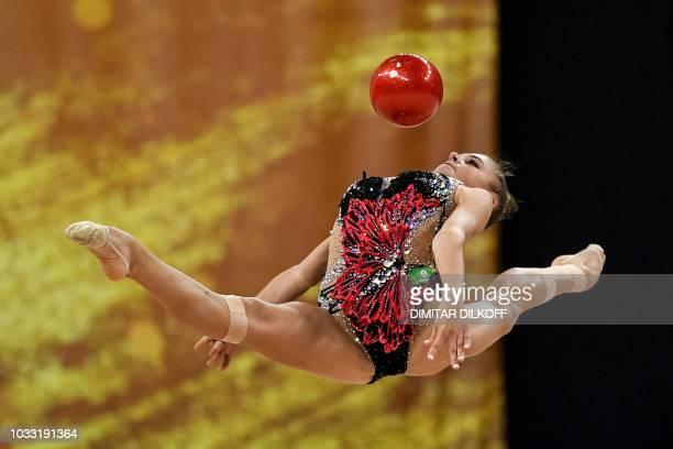 TOPSHOT Russia's Aleksandra Soldatova performs during the individual allaround final at the World Rhythmic Gymnastics Championships at Arena Armeec...