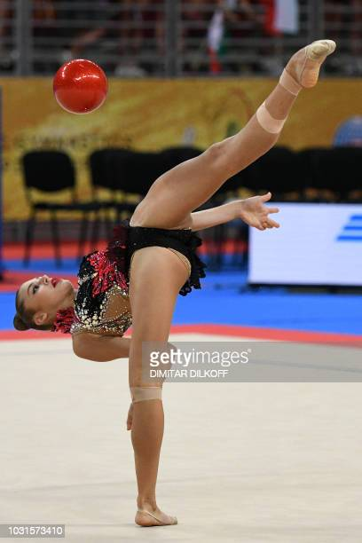 Russia's Aleksandra Soldatova performs during the individual ball final at the World Rhythmic Gymnastics Championships at Arena Armeec in Sofia on...