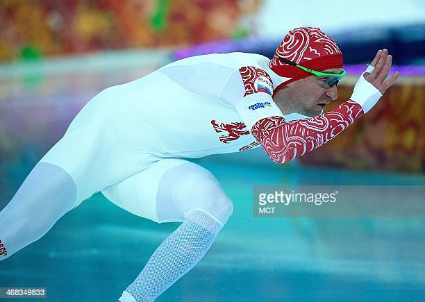 Russia's Aleksey Yesin competes during the Men's 500 meter race at Adler Arena during the Winter Olympics in Sochi Russia Monday February 10 2014
