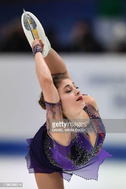 Russia's Alena Kostornaia competes to win the Ladies Free skating program of ISU European Figure Skating Championship 2020 in Graz on January 25 2019
