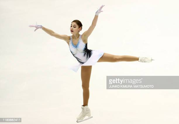 Russia's Alena Kostornaia performs during the Ladies Short Program at the Grand Prix of Figure Skating 2019/2020 NHK Trophy in Sapporo on November 22...