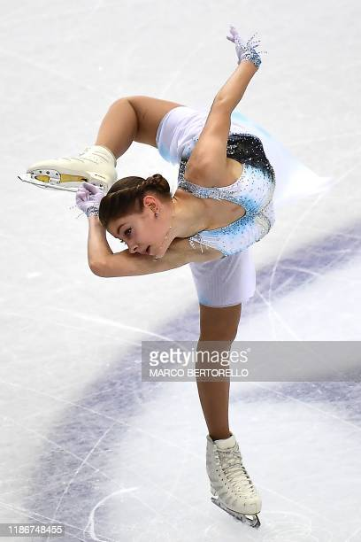 Russia's Alena Kostornaia performs during the Ladies short program at the ISU Grand Prix of figure skating Final 2019 on december 6 2019 in Turin