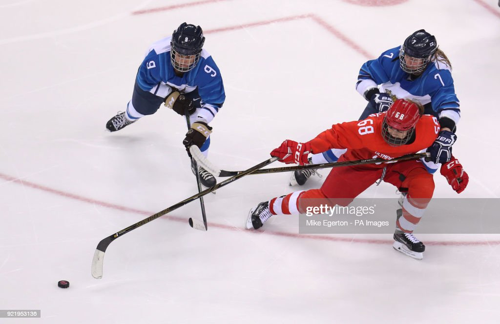 Russia's Alevtina Shtaryova and Finland's Venia Hovi and Mira Jalosuo in the bronze medal match in the Women's Ice Hockey at the Kwandong Hockey Centre during day twelve of the PyeongChang 2018 Winter Olympic Games in South Korea.