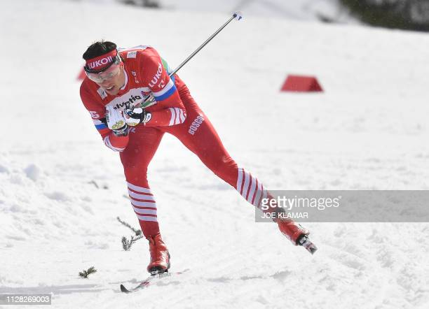 Russia's Alexander Bessmertnykh competes during the Men's cross country skiing relay 4x10km event at the FIS Nordic World Ski Championships on March...